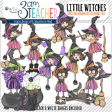 Cute Halloween Witches Clipart Set with Over 60 Graphics