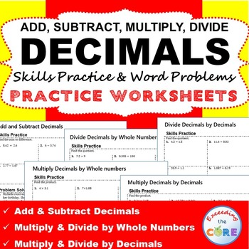 DECIMALS Homework Practice Worksheets - Skills Practice &