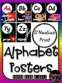 D'Nealian Alphabet Posters black