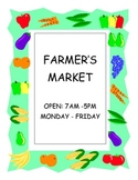 DRAMATIC PLAY THEME SIGNS - Farmers Market