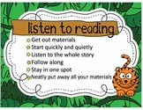 Daily Five Poster Set / Safari Jungle Animal / Elementary