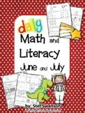 Daily Math and Literacy Kindergarten Summer Review {June a