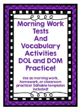 Morning Work, Tests, and Vocabulary Activities!