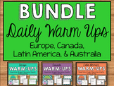 Daily Social Studies Warm-Ups BUNDLE -- Australia, Canada,