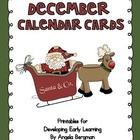December Calendar Cards - FREEBIE!