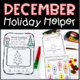 December Holiday Helper For Kindergarten Just Print, No Pr