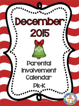 December Homework Calendar ~ Pk/K