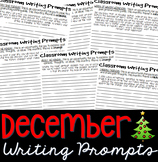 December Journal Writing Prompts Booklet: Grades 5-10 (25