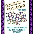 Decimals and Fractions Match Up: FREEBIE!