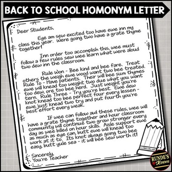 Deer Students - A Back to School Homonym Activity