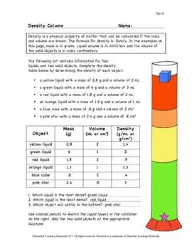 Density Column Worksheet De-6