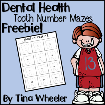 Dental Health Tooth Number Mazes Freebie!