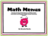 Differentiated Math Menus for the Common Core: Fourth Grade