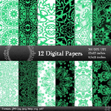Digital Paper Henna Ornate Album Retro Embroidery A4 Corne