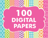Bundles - Digital Papers Pack 100 Basic Papers Set 1
