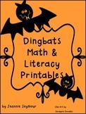 Ding Bats Math & Literacy Printables