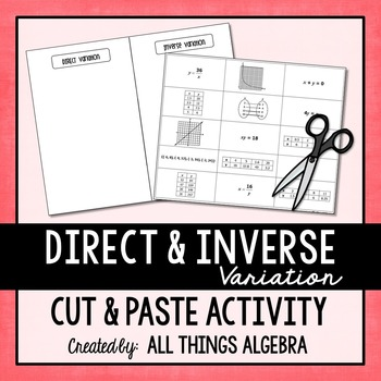 Direct and Inverse Variation Cut & Paste Activity