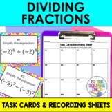 Dividing Fractions Task Cards and Record Sheets, CCS: 5.NF.B3