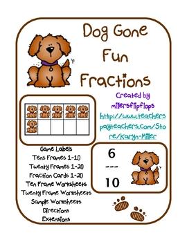 Dog Gone Fun Fractions - Ten Frame, Twenty Frame, Bundle