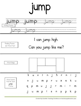 Dolch Sight Word Book-PrePrimer List 2