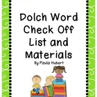 Dolch Word Check Off List with Flashcards