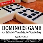 Dominoes Game Template -Editable Vocabulary Game, Hands-On