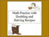 Kids Cooking-Doubling and Halving Recipes Worksheets
