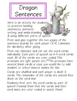 Dragon Sentences -- Sentence Building Activity