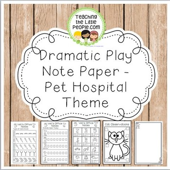 Dramatic Play Forms for Writing - Pet Hospital Theme Image