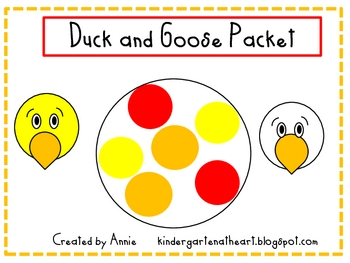 Duck and Goose Reading, Writing, Math and Art Packet