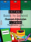 EDITABLE Back to School Class Information Flipbook