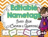 EDITABLE Name Tags {Sweet Decor Chevron and Quatrefoil}