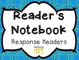 EDITABLE Reader's Notebook