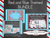 ***EDITABLE*** Red & Blue Themed Classroom BUNDLE