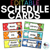 EDITABLE Schedule Cards in Bold Colors and Dots: With and