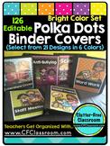 EDITABLE Teacher Binder Covers POLKA DOTS BRIGHT COLORS Cl