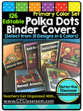 EDITABLE Teacher Binder Covers POLKA DOTS PRIMARY COLORS C