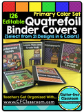 EDITABLE Teacher Binder Covers QUATREFOIL PRIMARY COLORS C