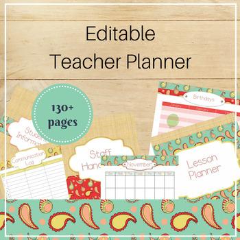 EDITABLE Teacher Binder Organizer: Stitched Paisley