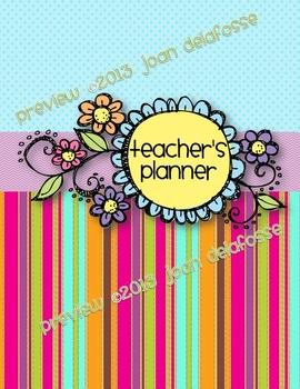 EDITABLE Teacher Planner Binder -  Trendy Floral and Strip
