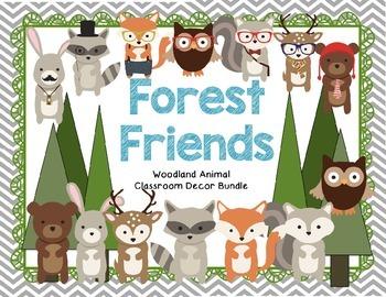 *EDITABLE* Woodland Forest Animal Theme Classroom Decor Bundle