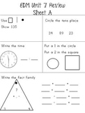 EDM First Grade Unit 7 Review Sheets