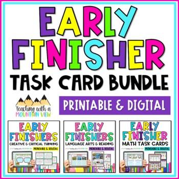 Early Finisher Task Card Bundle ( Language Arts , Math ,  Creative Thinking )