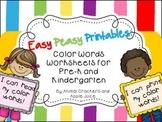 Easy, Peasy Printables: Pre-k and Kindergarten Color Words