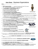 Economics - Business Organizations Note Sheet
