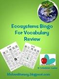 Ecosystems  Environment Vocabulary Bingo game vocabulary strategy