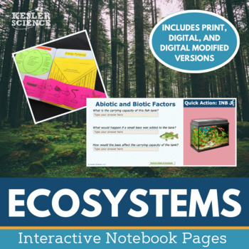 Science Interactive Notebook - Ecosystems - Food Webs, Biomes & more