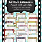 Editable 2015-2016 Cute Monthly Classroom Calendars August