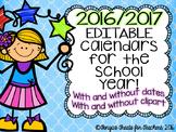 Editable 2015/2016 School Year Calendars! Printer Friendly!