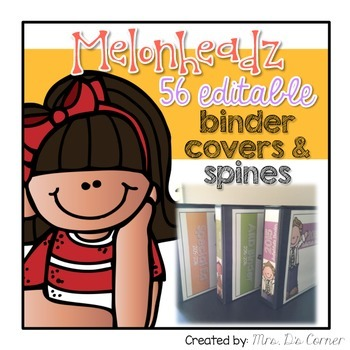 Editable Binder Covers and Spines { Melonheadz Theme } 56 Different Covers